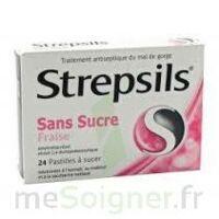 STREPSILS FRAISE SANS SUCRE, pastille édulcorée à l'isomalt, au maltitol et à la saccharine sodique à Bassens